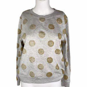 ICHI Zimba Gray Melange Gold Polka Dot Sweater